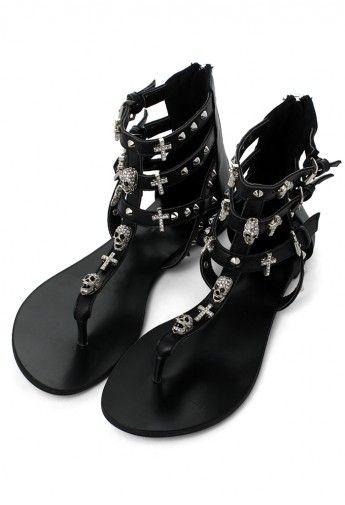 6d6af035c1b Skull Stud Multi-strap Flat Sandals Сандалии На Низкой Платформе