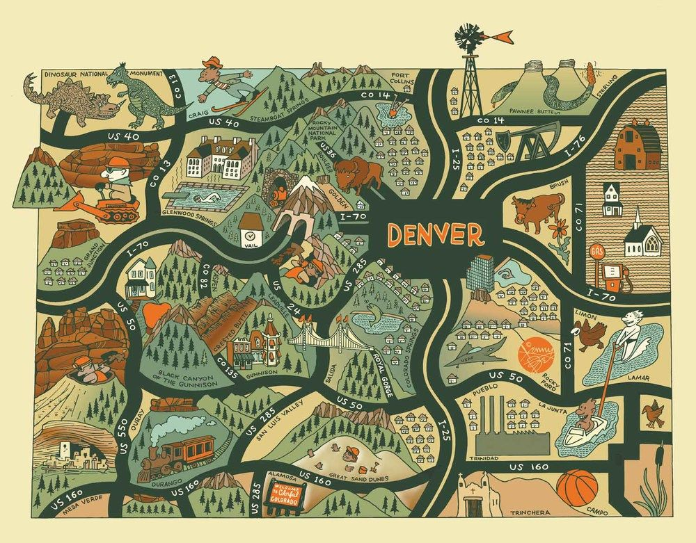 colorado map kenny be cartography in 2018 pinterest map