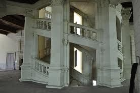 DaVinci double staircase in the Chateau Chambord, France