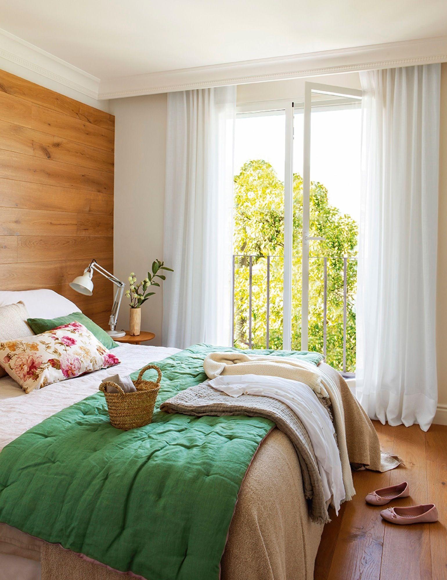 Dormitorio en blanco verde y madera 411719 ideas de - Dormitorios en blanco y madera ...