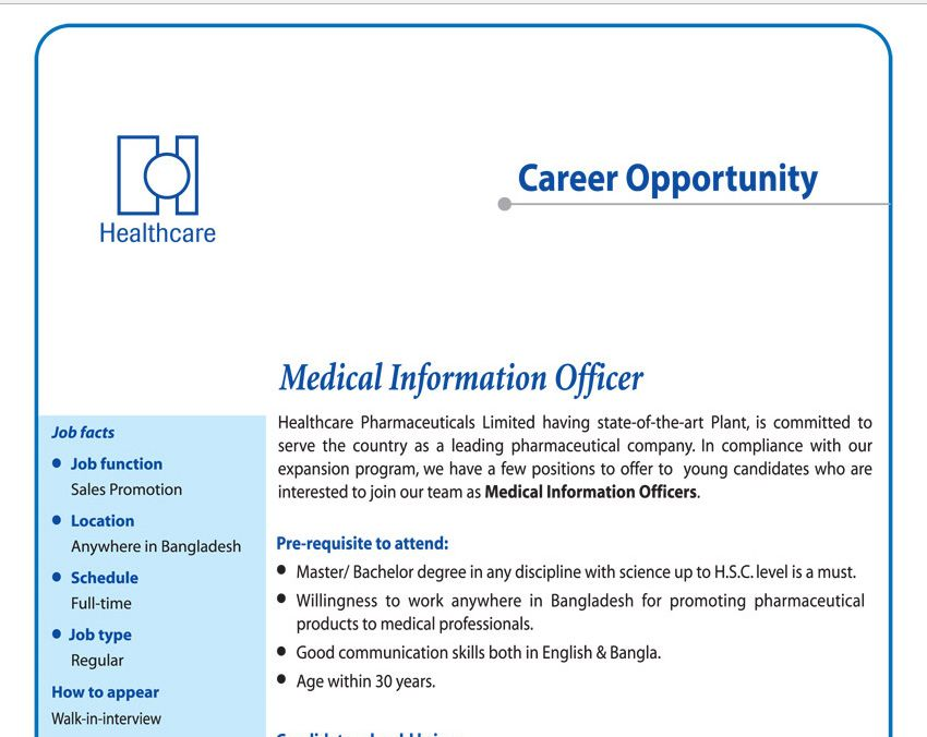 Healthcare Pharmaceuticals Limited  Position Medical Information