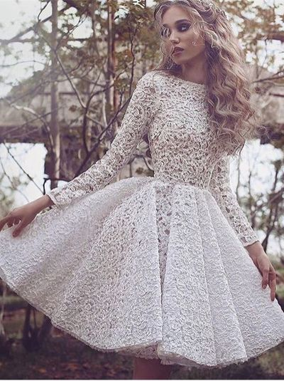 Chic Bateau Lace Short Prom Party Dress with Long Sleeves, prom ...