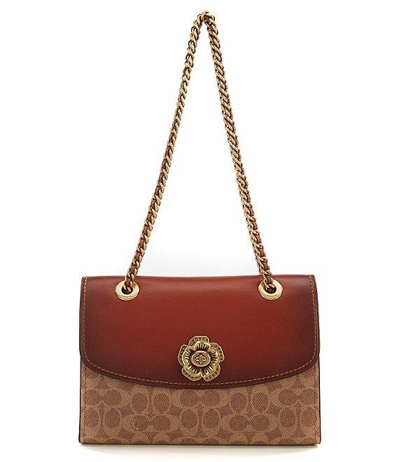 COACH Tea Rose Signature Canvas Parker Shoulder Bag in