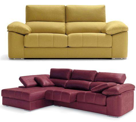 Sofá moderno de 3+2 plazas y con chaise-longue, modelo Ariela ...