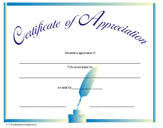 A certificate of appreciation with a blue ink well and pen and a certificate of appreciation printable certificate yadclub Images