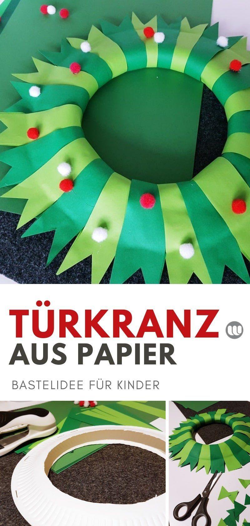 Weihnachtliche Papier Türkränze: Einfache Ideen zum Selbermachen #weihnachtsdekobasteln