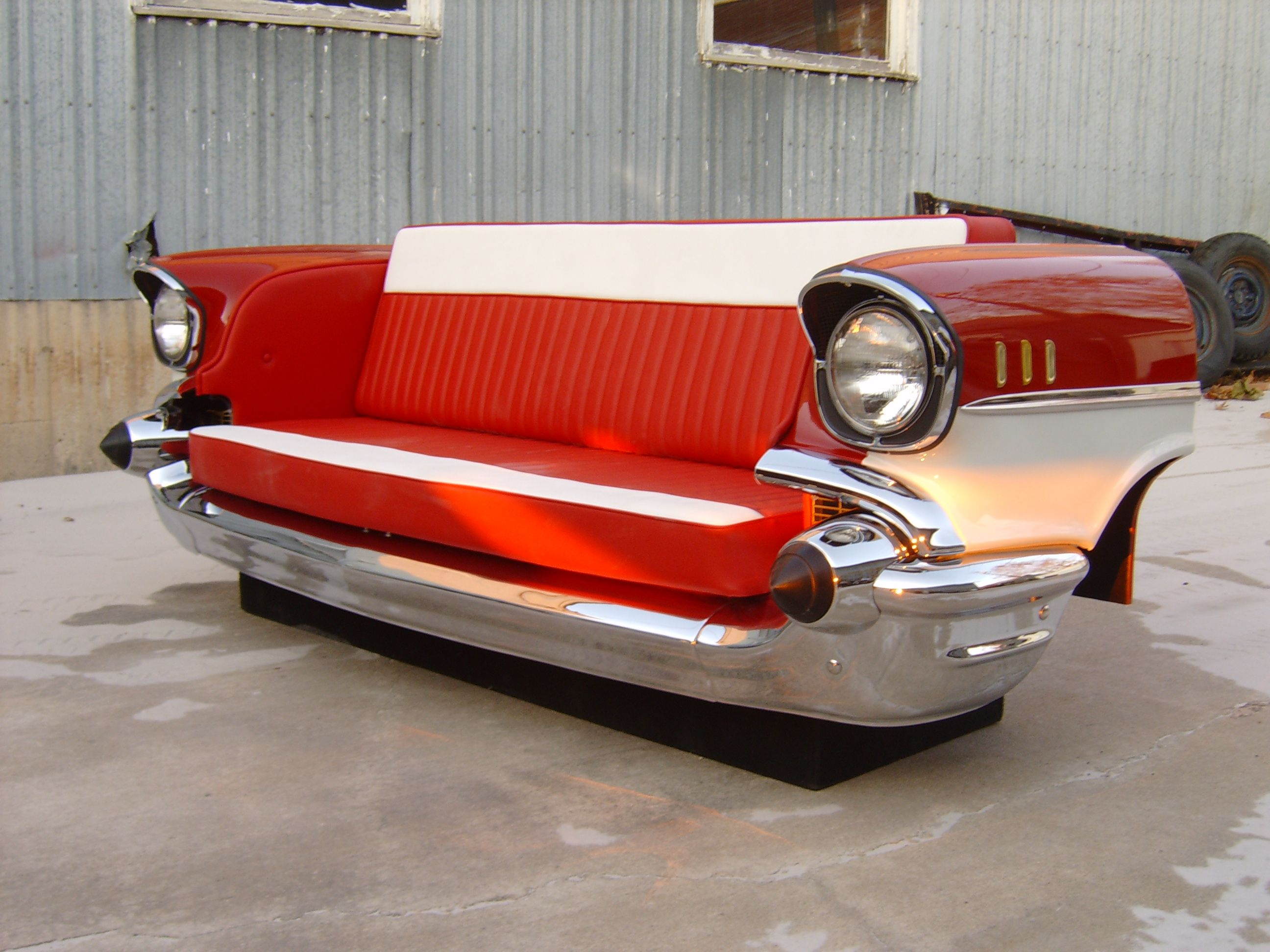 57 Chevy front end couch | Car Themed Stuff | Automotive furniture ...