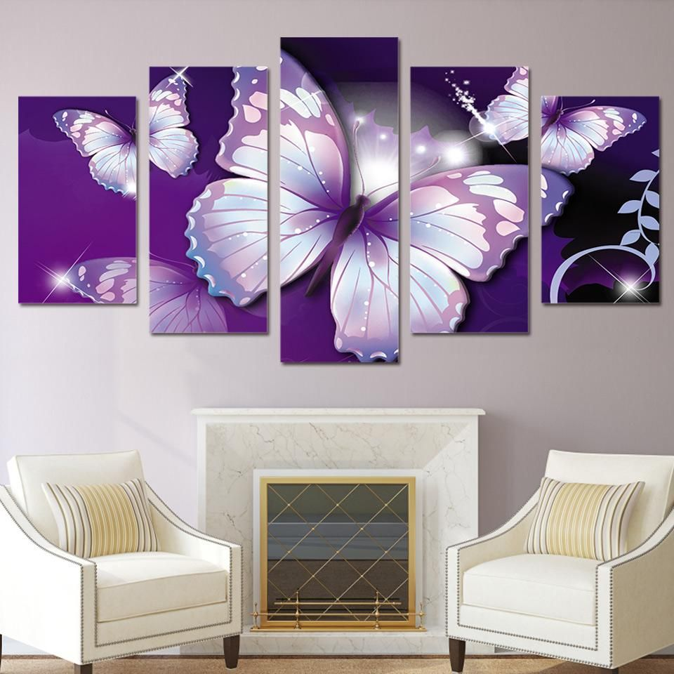 Hd Printed Purple Butterfly Painting Canvas Print Room Decor Print Poster Picture Canvas Free Shipping Ny 2882 Living Room Art Painting Trendy Wall Art Living Room Art