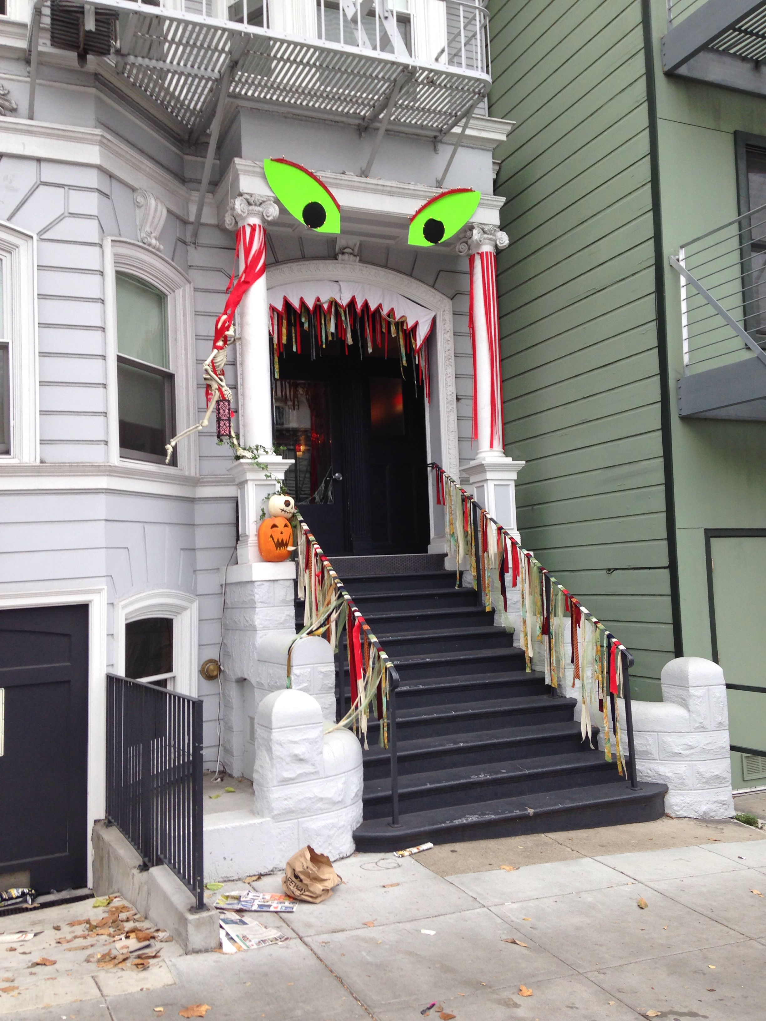 Monster house front porch Halloween decorations