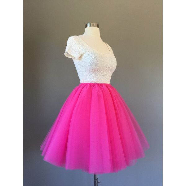 3ed31a1656 Tulle Skirt Adult Tutu Hot Pink Tutu Pink Tulle Skirt Adult... ($55) ❤  liked on Polyvore featuring silver, skirts, women's clothing, tulle slip,  mini slip, ...