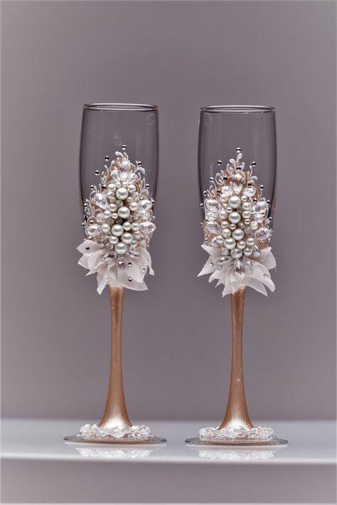 personalized wedding flutes, wedding champagne glasses toasting ...