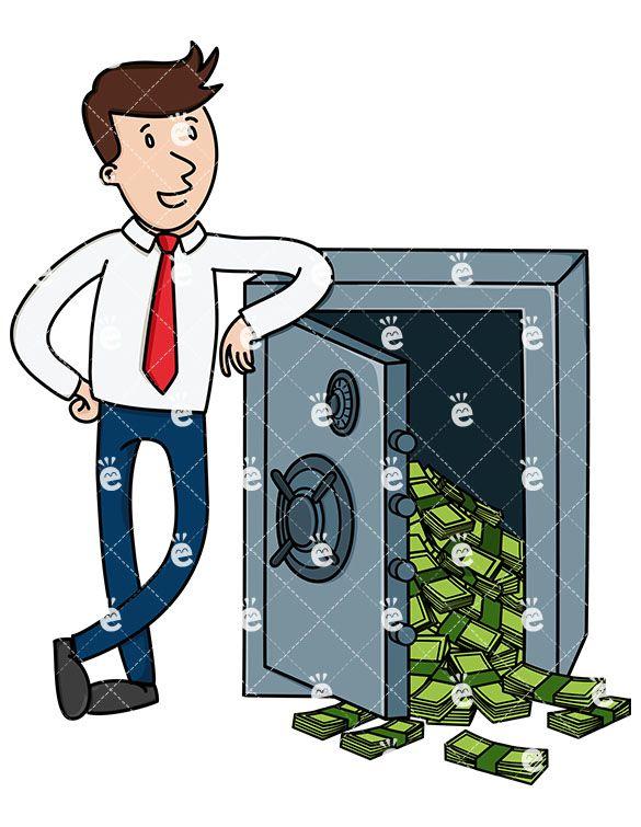 Businessman Leaning On Safe Full Of Money Cartoon Clipart Vector Friendlystock Cartoon Clip Art Character Drawing Free Vector Illustration