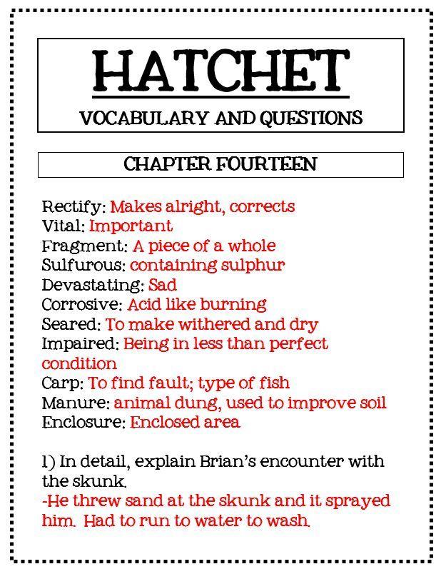 Hatchet Comprehension Questions Answer Keys And Activities Hatchet Novel Study Hatchet Novel Novel Studies