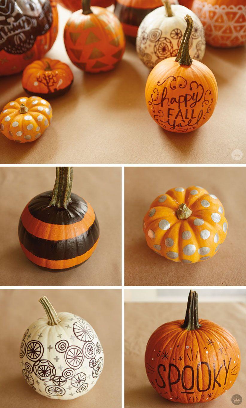 Diy Simple Pumpkin Decorating With Markers Pumpkin Decorating