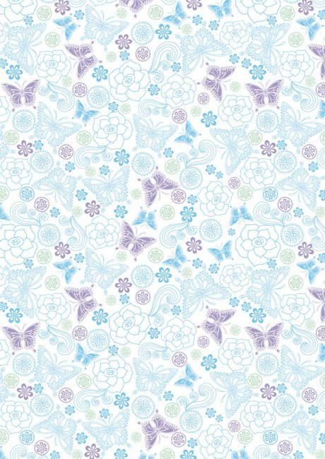 Blue And Lilac Butterflies Scrapbook Paper Decorative Paper