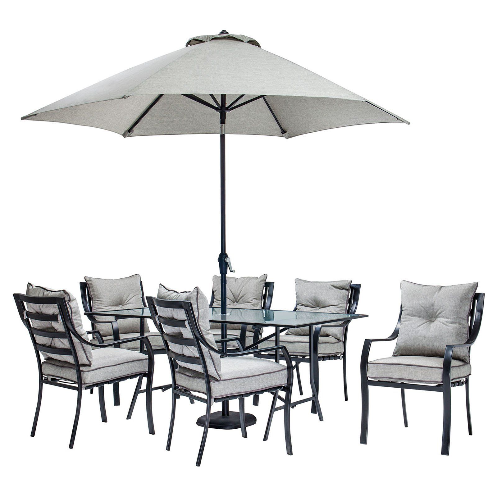 Hanover Lavallette Steel 7 Piece Rectangular Patio Dining Set With