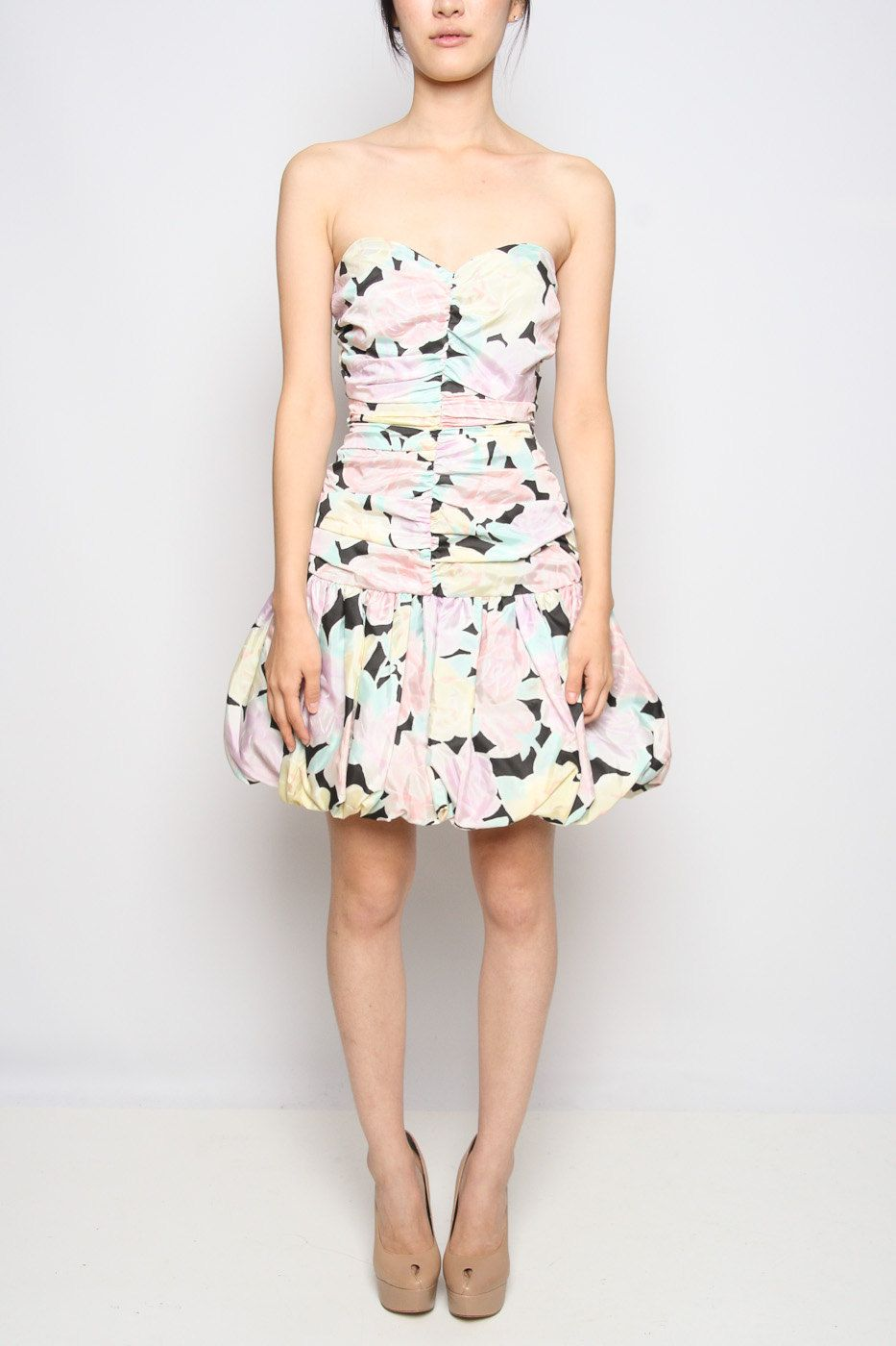 Vintage us strapless floral mini dress s prom and s prom
