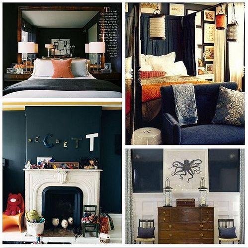 A Dark Cozy Moody Masculine Bedroom Lots Of Wood Dark: Love The Deep Navy In These Rooms-also Love These Because