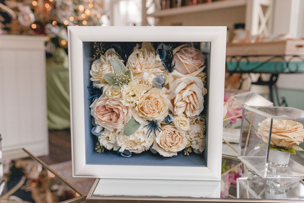 Flower preservation. Preserved flower shadowbox. Dried
