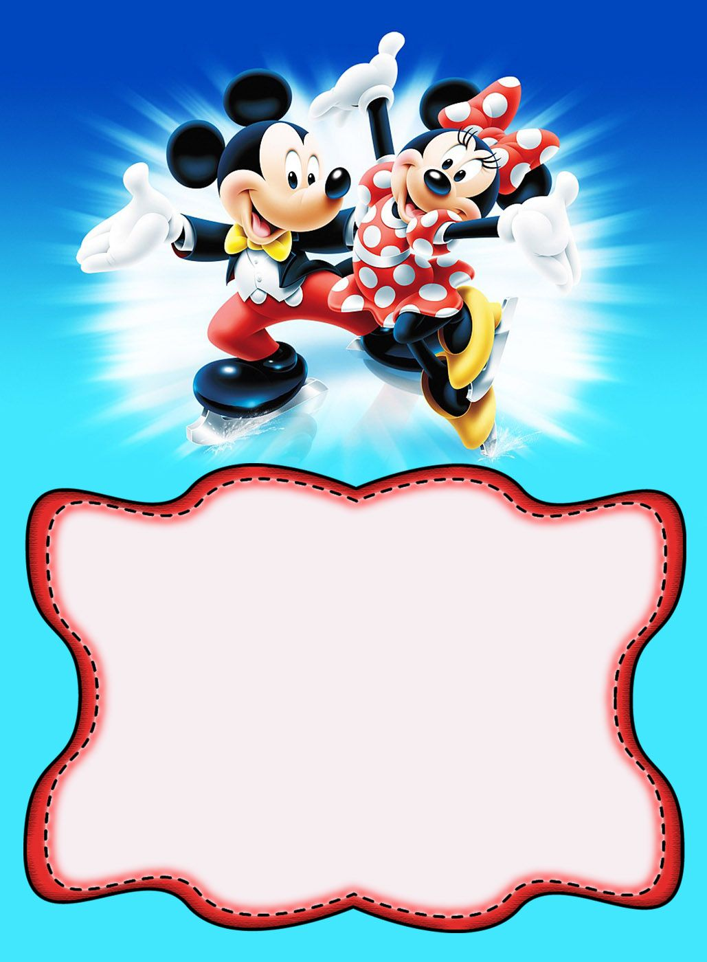 Minnie And Mickey Mouse Birthday Invitation Mickey