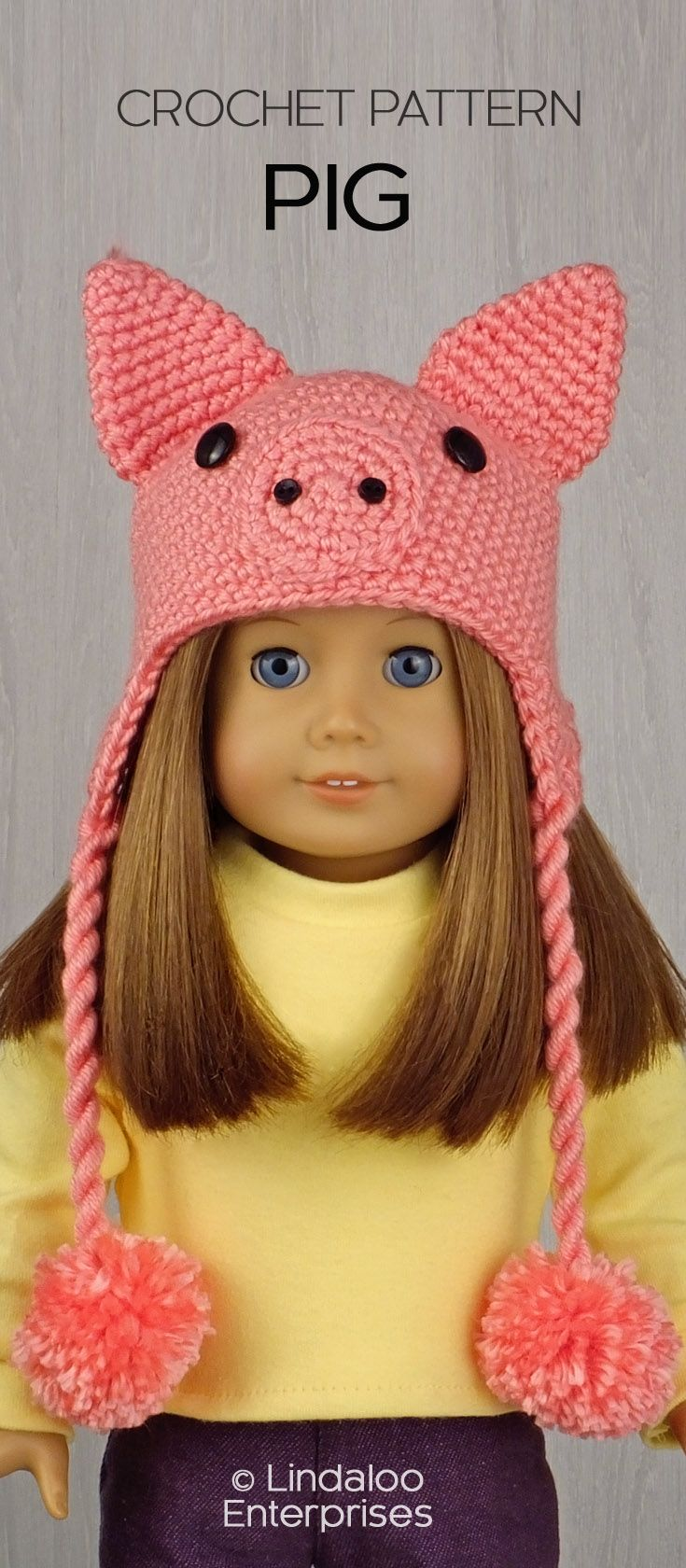 PIG HAT for AMERICAN GIRL DOLLS ❤ Crochet pattern in the book ...