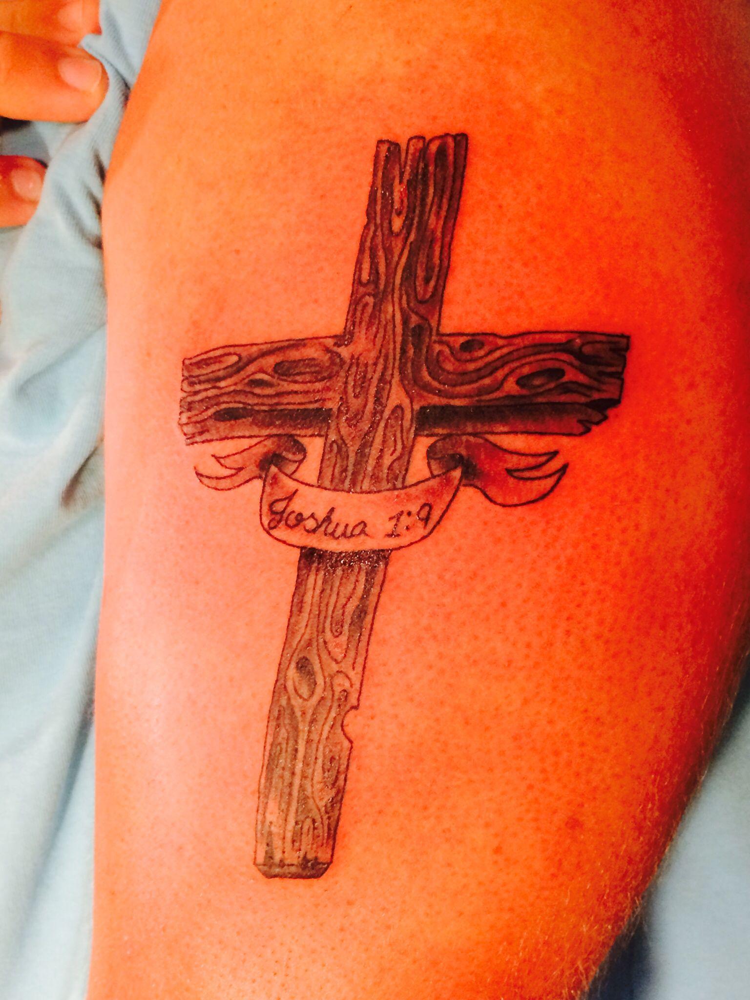 Cross tattoo joshua 1 9 tattoos pinterest tattoo for Joshua 1 9 tattoo