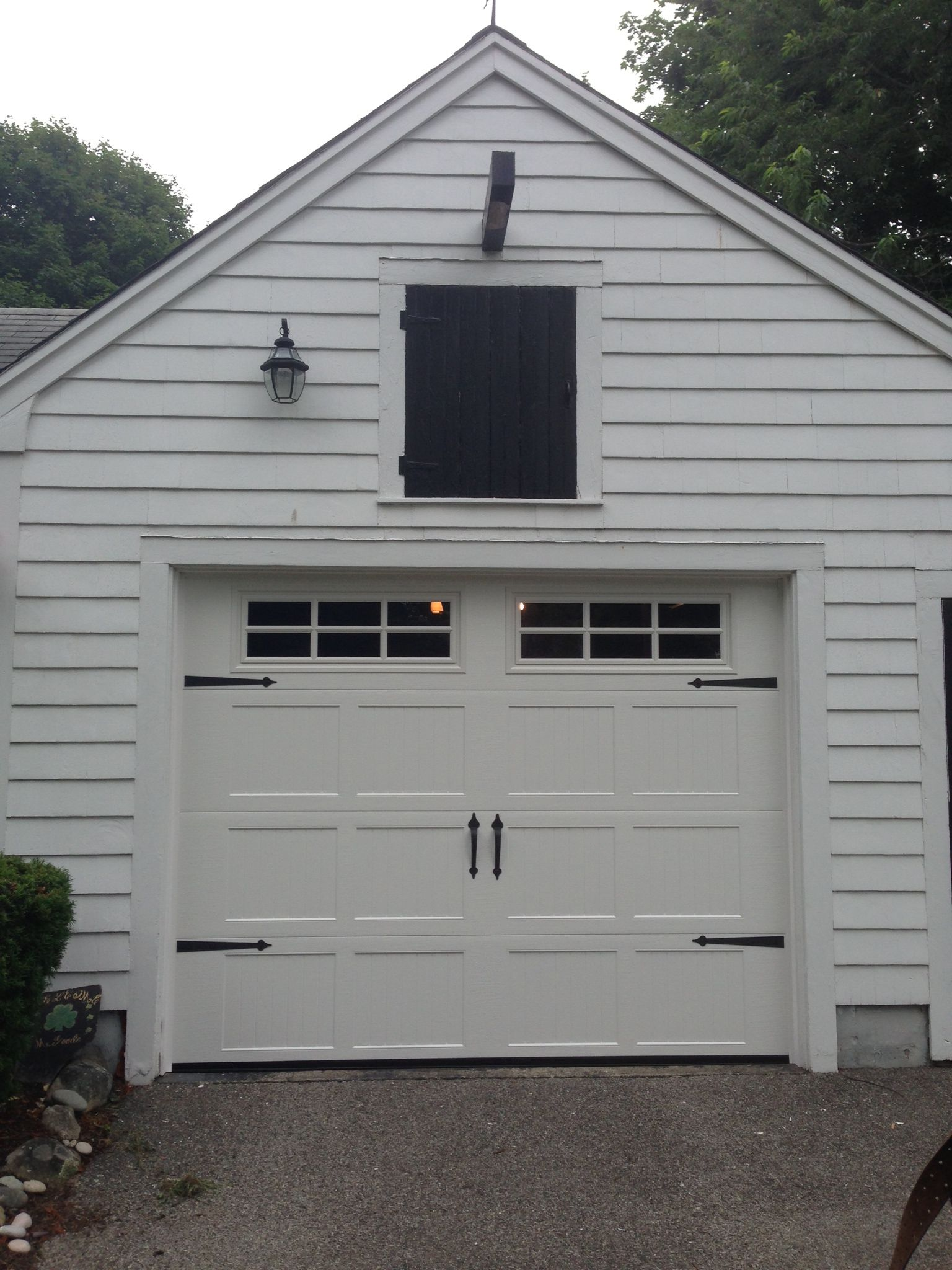 Haas Model 660 Steel Carriage House Style Garage Door In White With 6 Pane  Glass U0026 Flat Black Spade Decorative Hardware. Installed By Mortland Overhead  ...