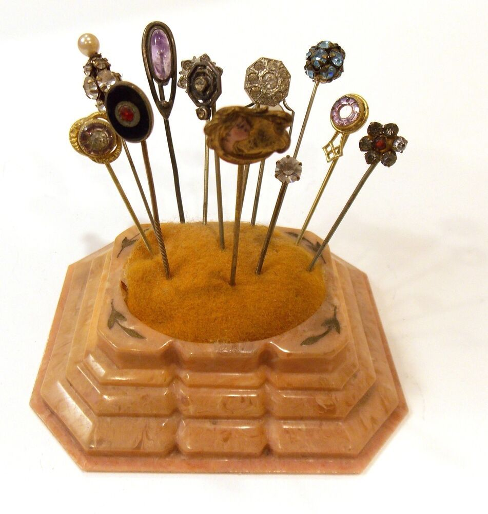 Vintage Thimble Hat Or Stick Pins Collection Brooch With: FABULOUS ANTIQUE CELLULOID PIN CUSHION & 13 BEAUTIFUL