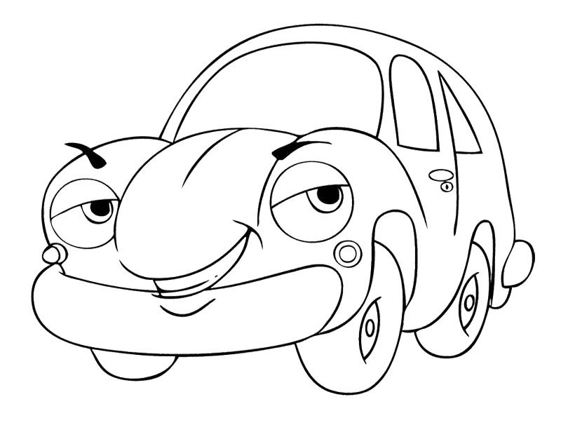 cartoon car smile coloring page - Cartoon Pictures To Colour In