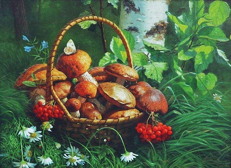 лучший вариант рисунок грибы и ягоды в лесу альбома