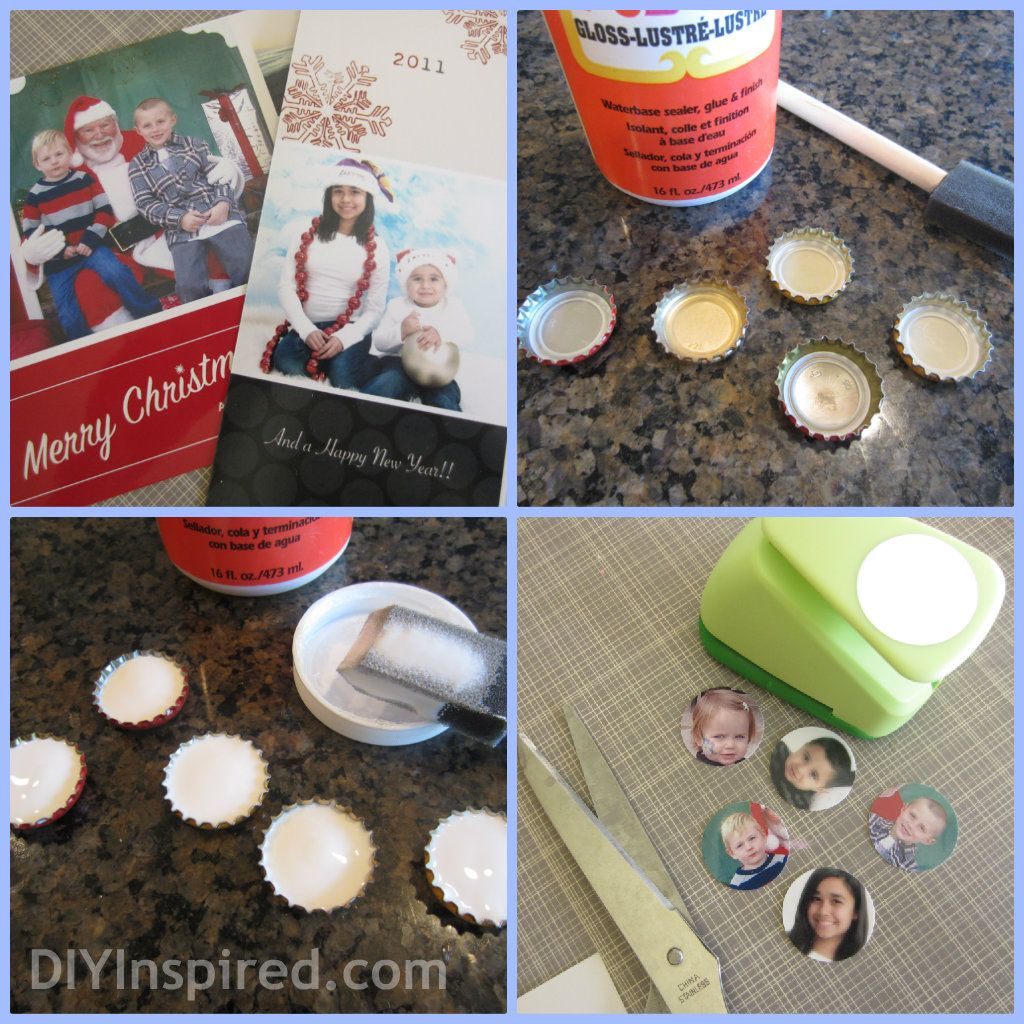Bottle cap magnets from old Christmas Card photos.  Cute DIY gift idea.