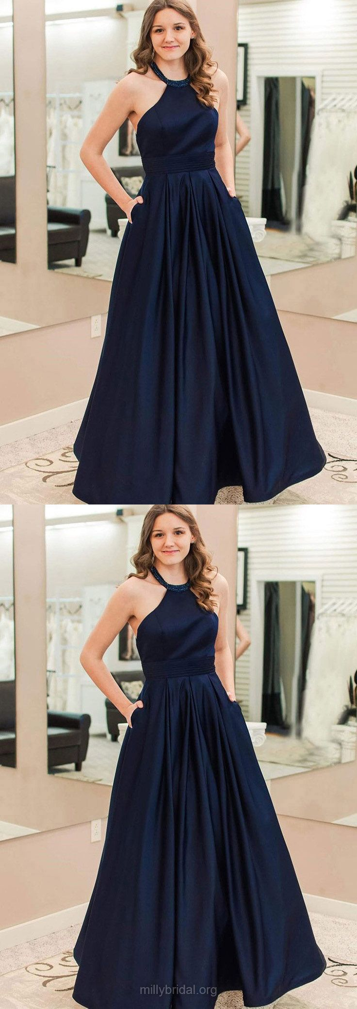 Long prom dressesdark navy prom dresses modest prom dresses