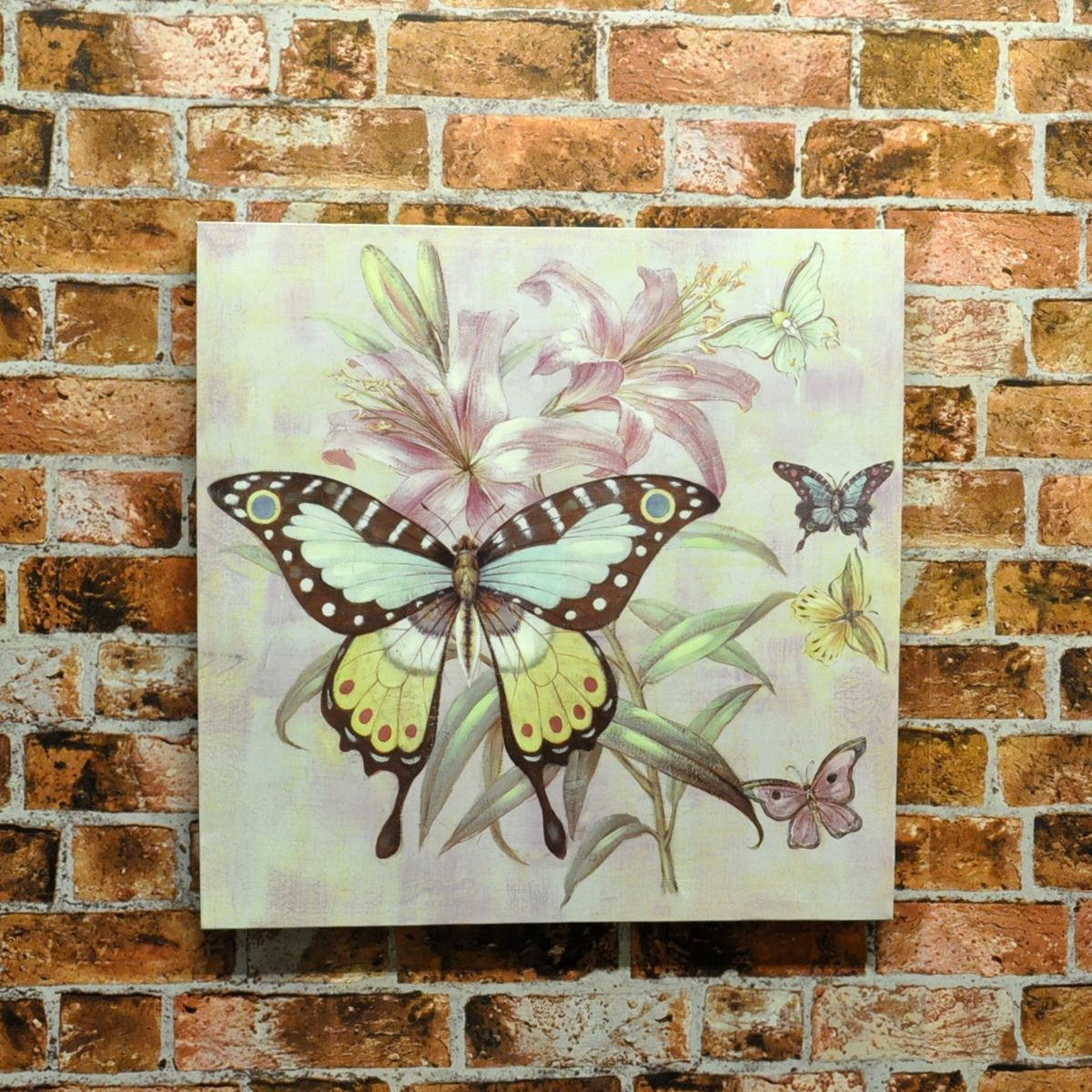 Set 2 Butterfly & Flowers Wood Board Canvas Print Picture