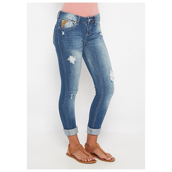 Destroyed Leather Patched Skinny Jean ❤ liked on Polyvore featuring jeans, white denim skinny jeans, white ripped jeans, destroyed jeans, white destroyed jeans and white skinny leg jeans
