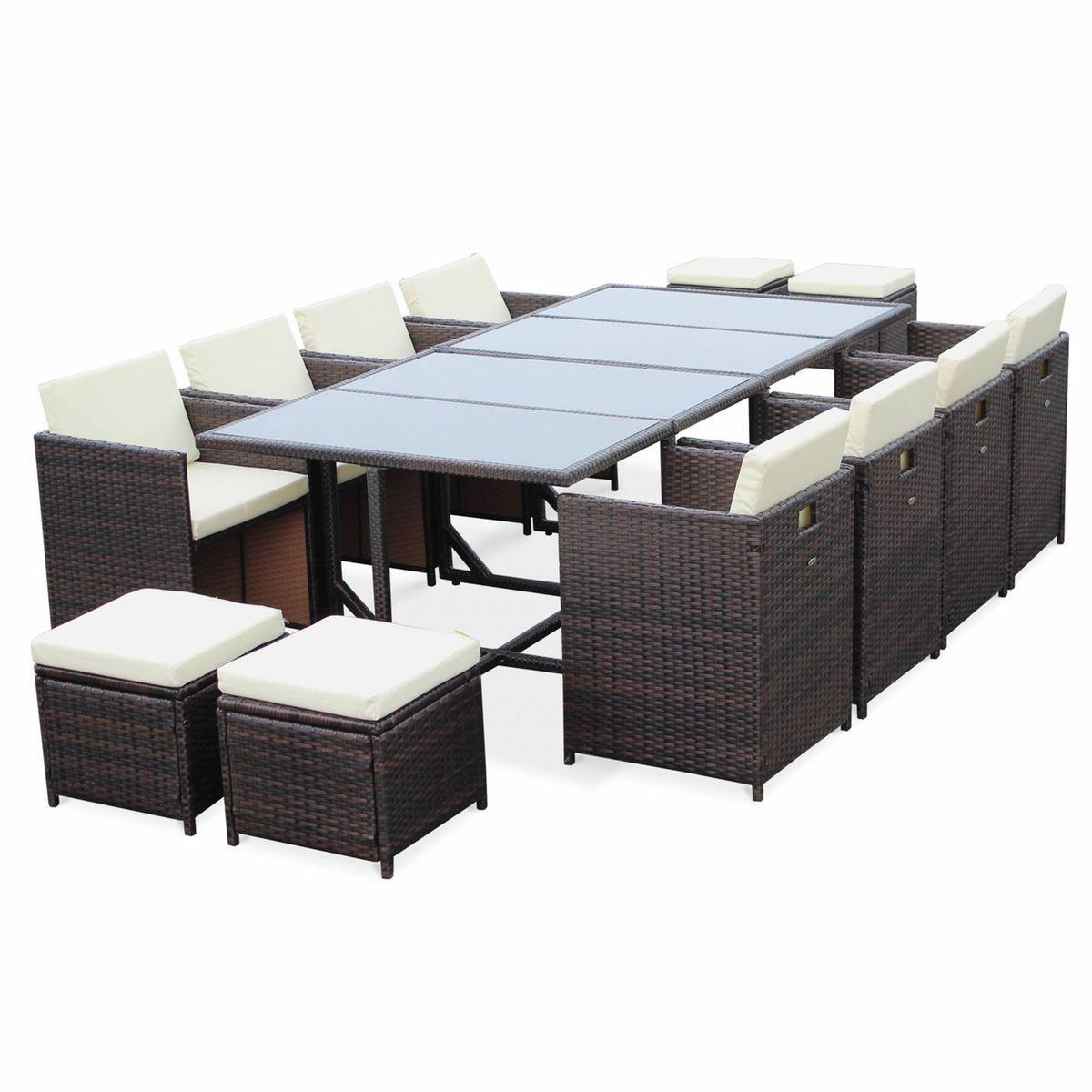 Salon Textilene Table 8 Fauteuils Encastrables