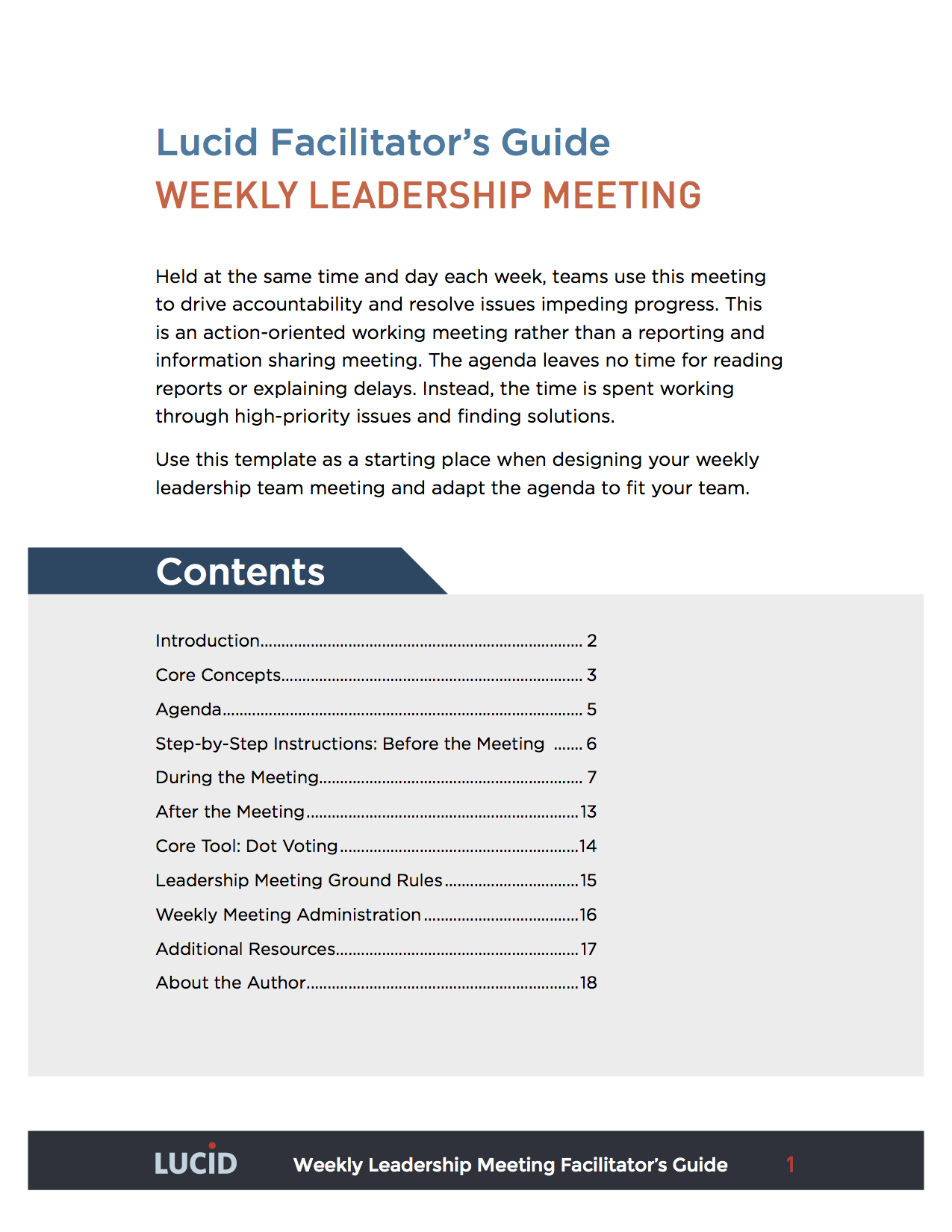 Weekly Leadership Team Meeting Lucid Meetings Meeting