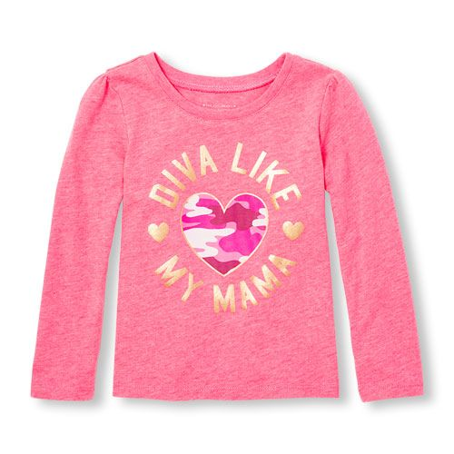 3a24ce959ffe5 s Toddler Long Sleeve 'Diva Like My Mama' Camo Heart Neon Graphic Tee -  Pink T-Shirt - The Children's Place