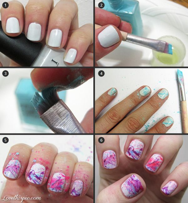 Diy Splattered Nail Design Fashion Colorful Nails Girl Nail Polish
