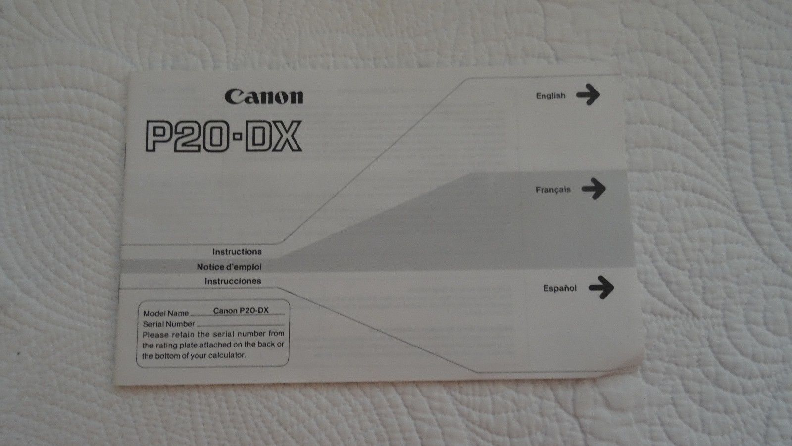 MANUAL Canon Electronic Calculator P20-DX MANUAL ONLY
