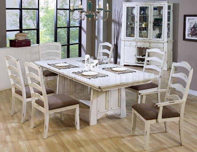 Country Dining Room Sets On Discontinued Distressed Wash White Finish Style  Set China Cabinet And Small