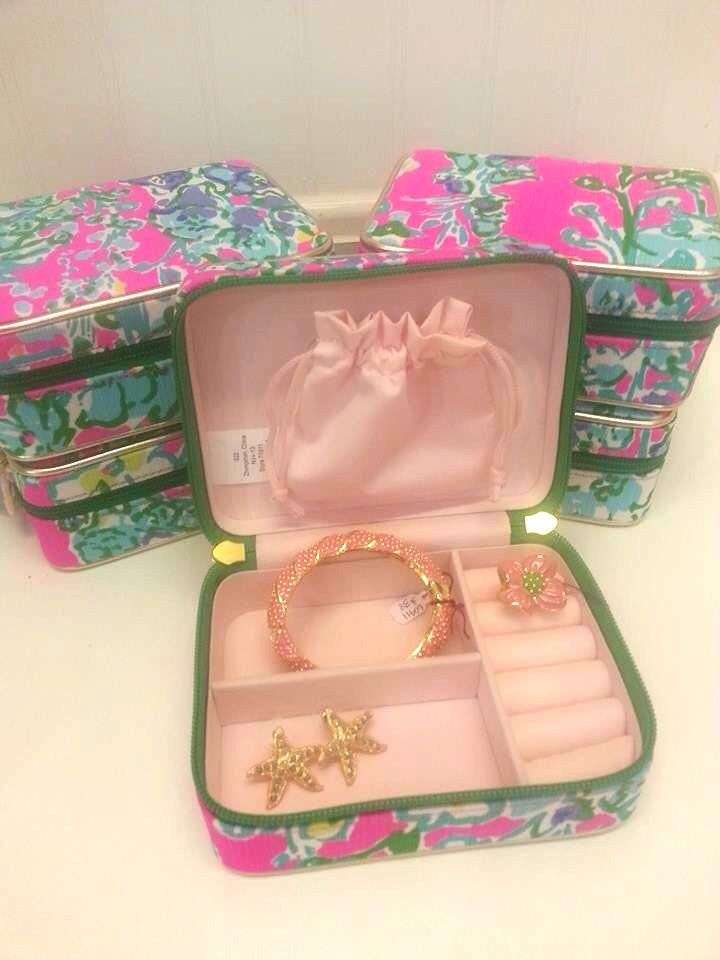 Lilly Pulitzer Printed Travel Jewelry Case Box Pop Pink Southern