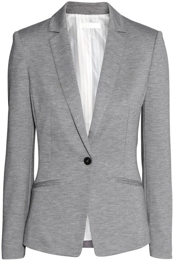 H\u0026M - Jersey Blazer - Gray - Ladies | Look
