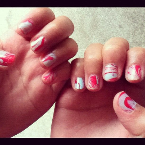 Painted Alina Dang's nails today  #Water #marble #bestie