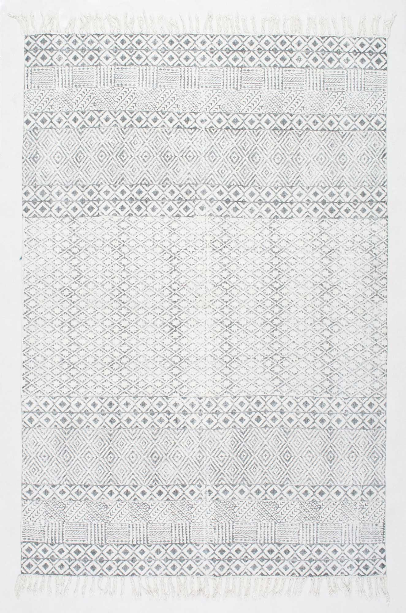 chembrach05 block printed cotton flatweave varied bands rug rugs