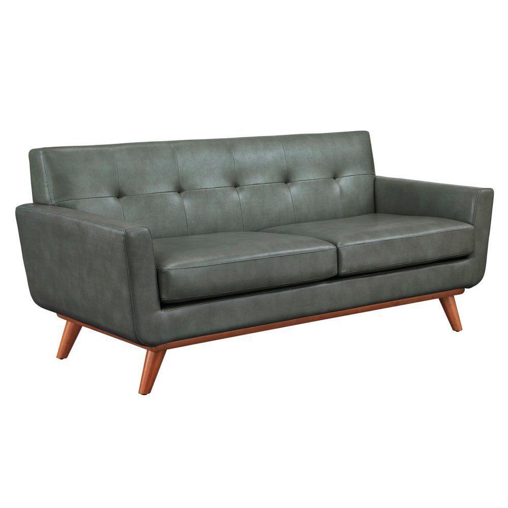 TOV Furniture Lyon Leather Loveseat - Grey