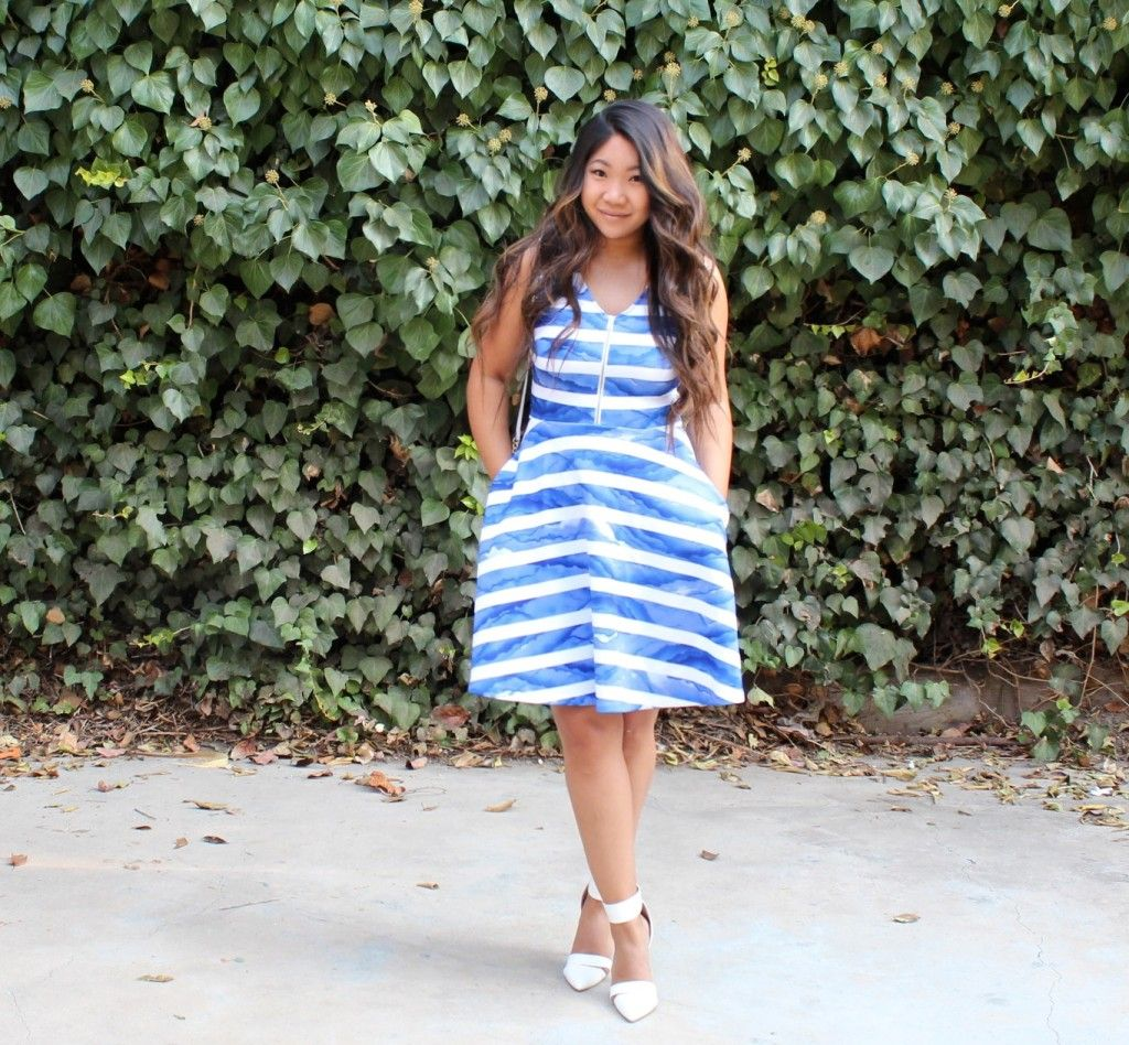 Today's church outfit: Apt. 9 White Blue Striped Front Zip Flare ...