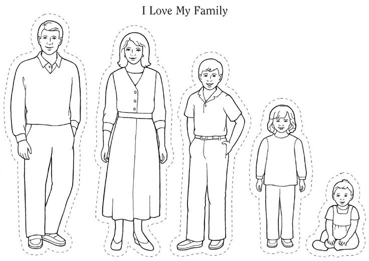 Family members colour vintage coloring pages of a family