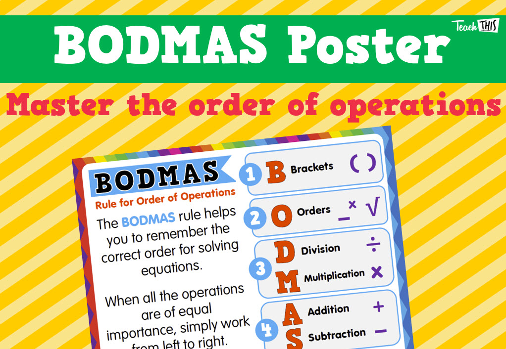 BODMAS - Poster | School Mathematical Science | Pinterest | Equation ...