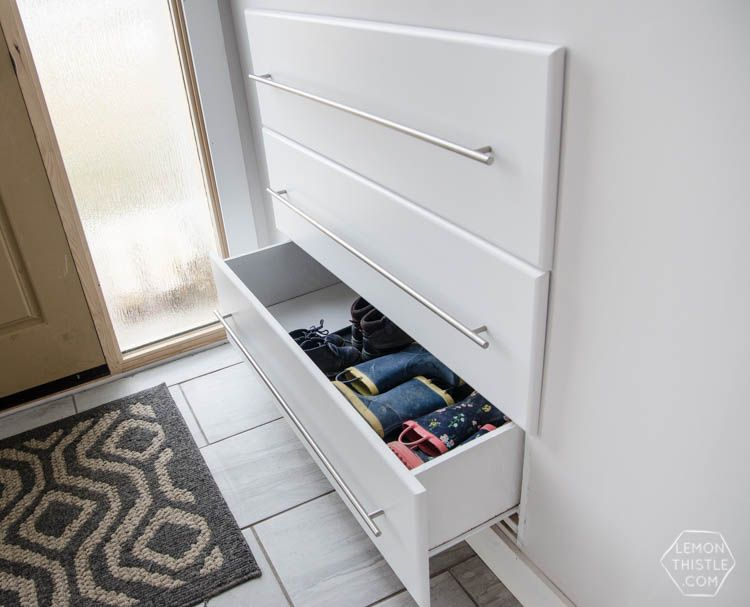 Ordinaire What A Great Storage Solution For A Split Level Entry Home! DIY Built In  Shoe Storage Drawers