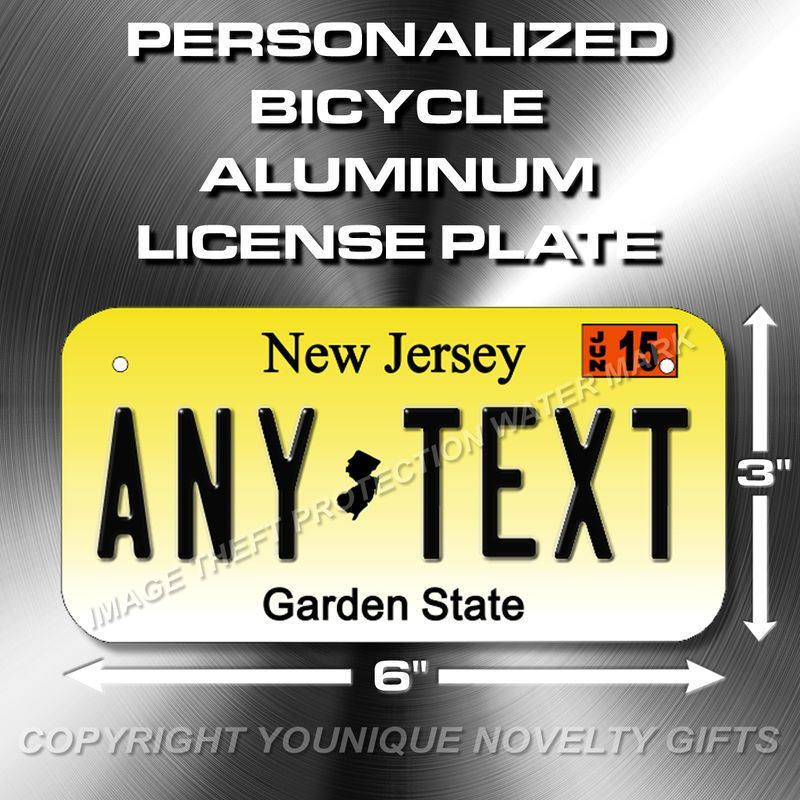 New Jersey Any Text Bicycle Toy Bike Scooter Power Wheels License